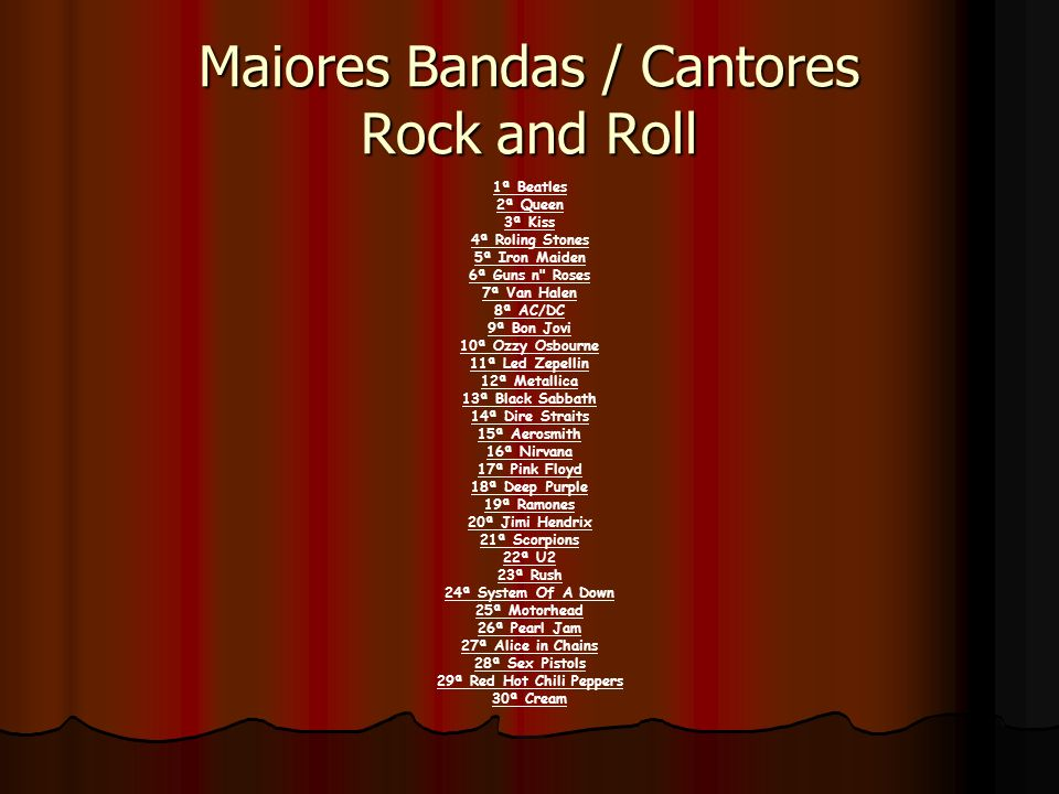 Maiores Bandas / Cantores Rock and Roll