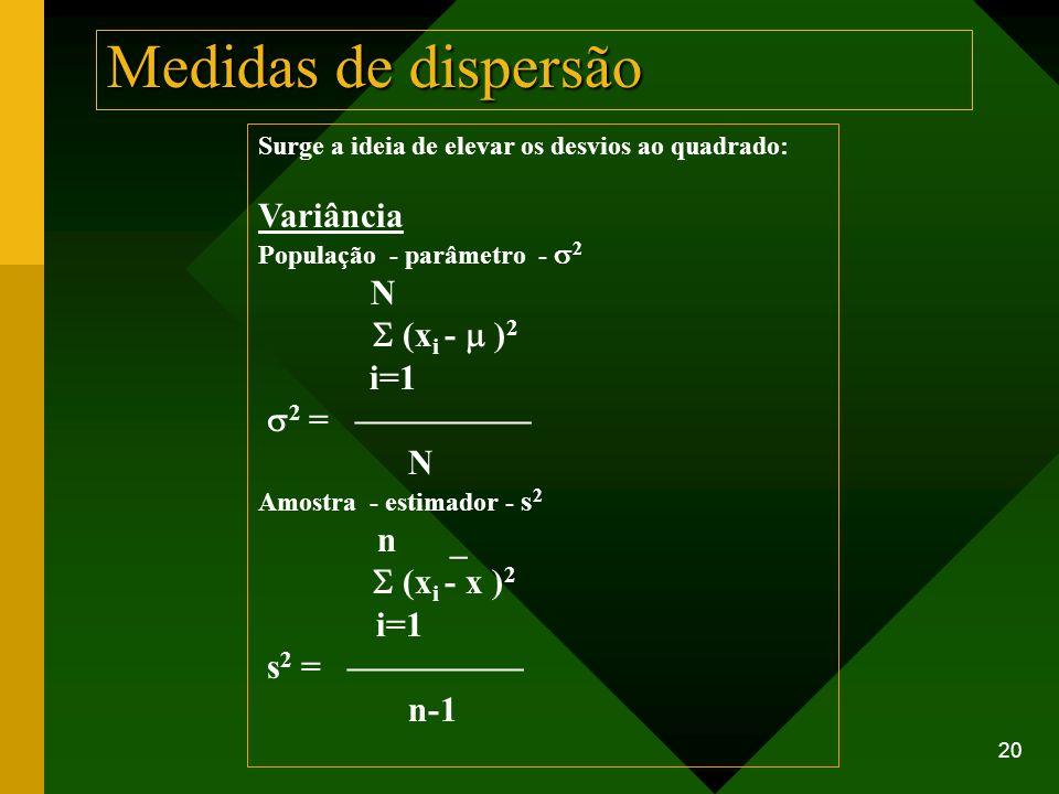 Medidas de dispersão Variância S (xi - m )2 i=1 s2 = —————