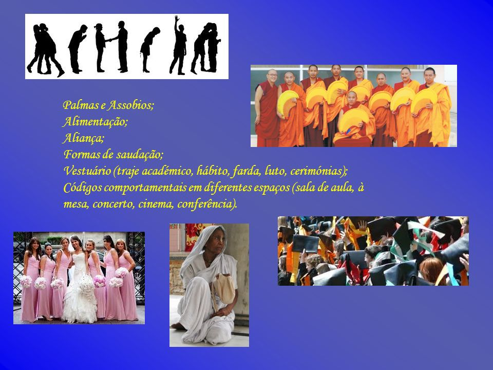 Palmas e Assobios; Alimentação; Aliança; Formas de saudação; Vestuário (traje académico, hábito, farda, luto, cerimónias);