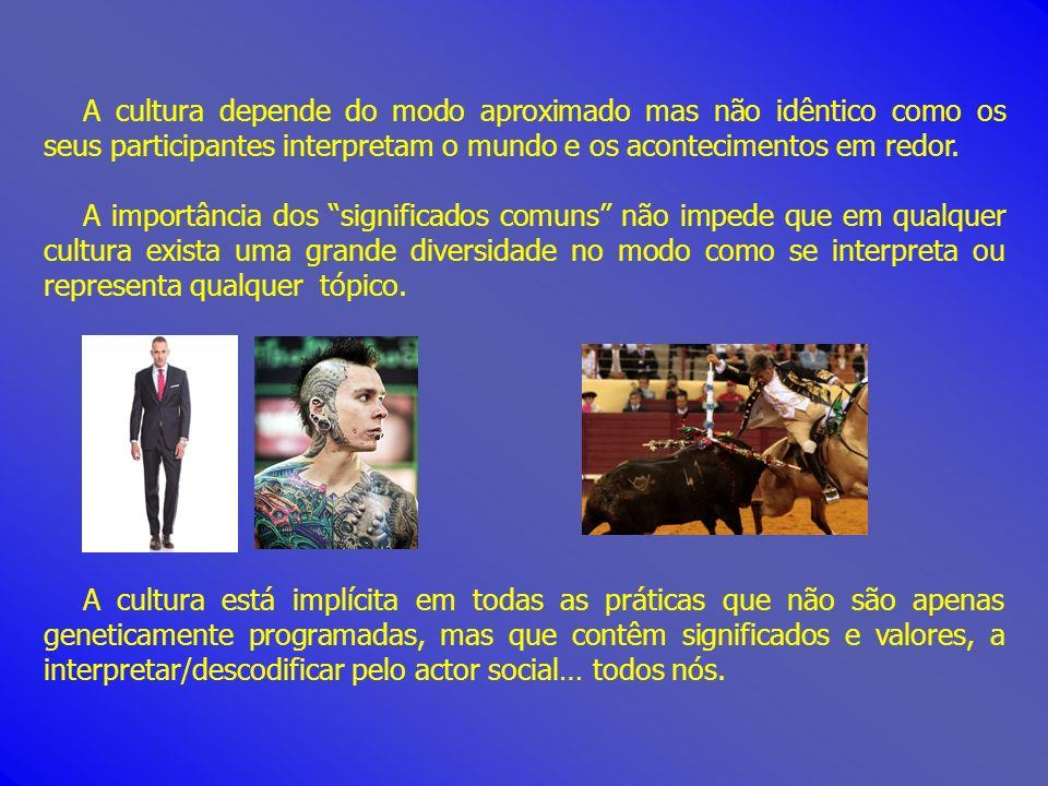 A cultura depende do modo aproximado mas não idêntico como os seus participantes interpretam o mundo e os acontecimentos em redor.