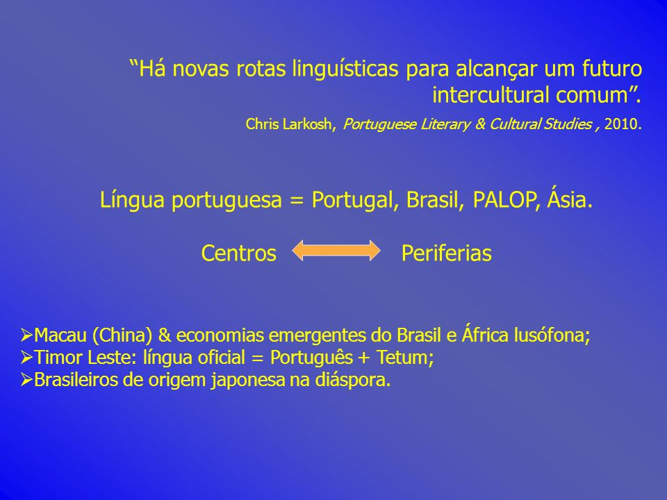 Língua portuguesa = Portugal, Brasil, PALOP, Ásia.