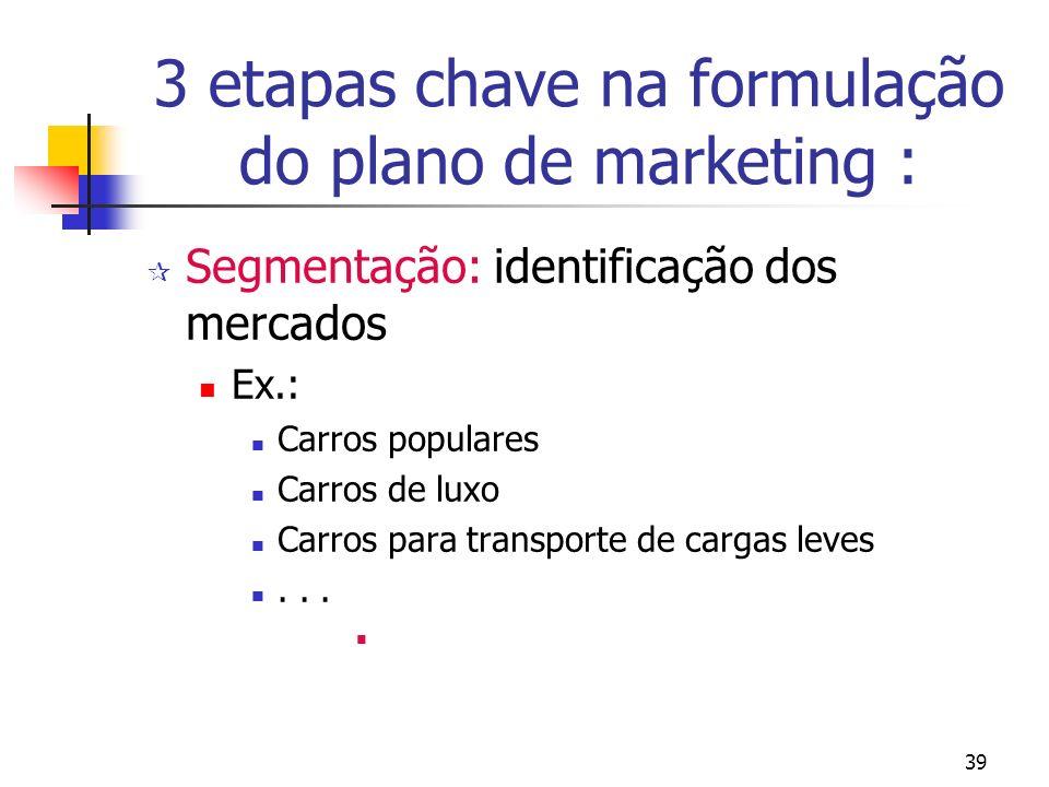 3 etapas chave na formulação do plano de marketing :