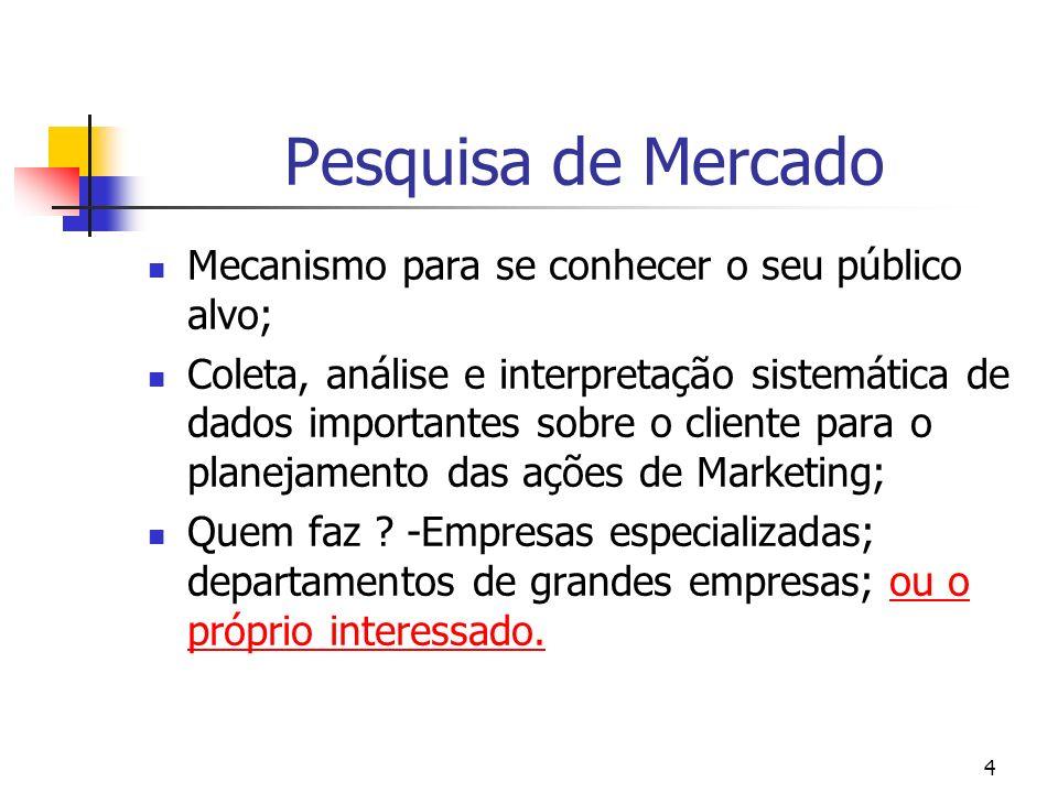Pesquisa de Mercado Mecanismo para se conhecer o seu público alvo;