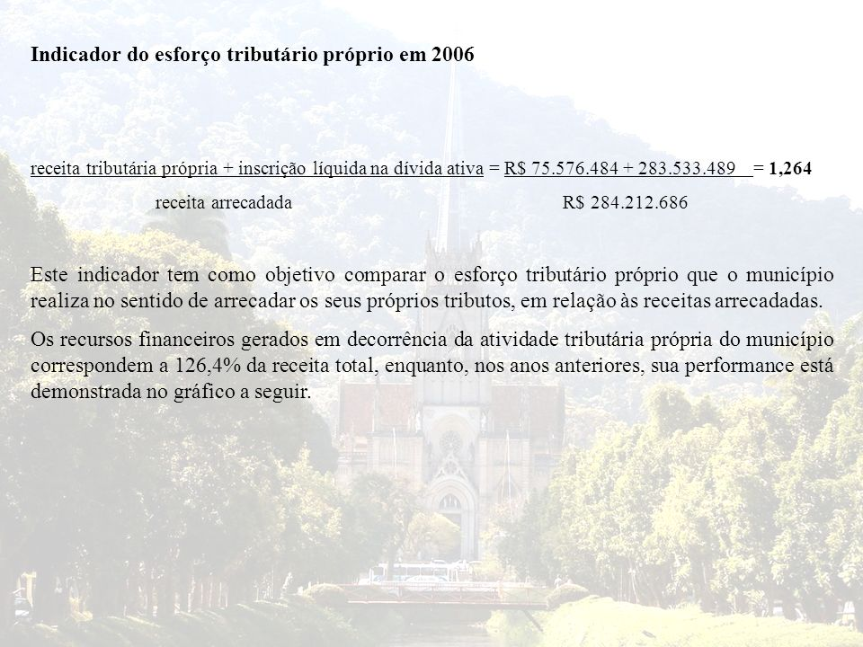 Indicador do esforço tributário próprio em 2006