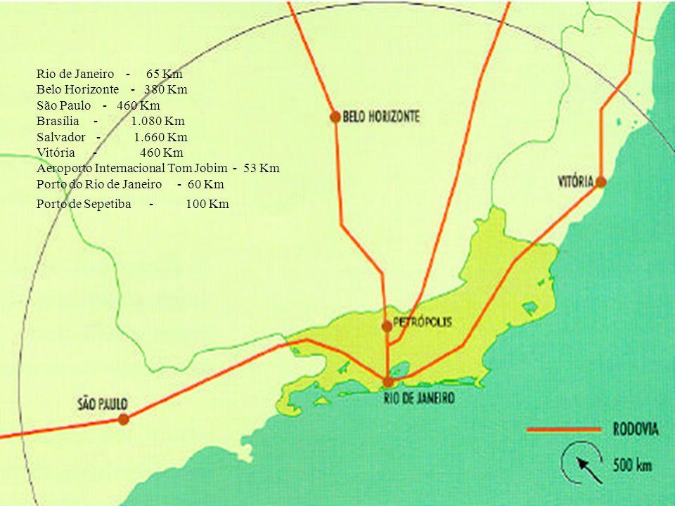 Rio de Janeiro - 65 Km Belo Horizonte - 380 Km. São Paulo - 460 Km. Brasília - 1.080 Km.