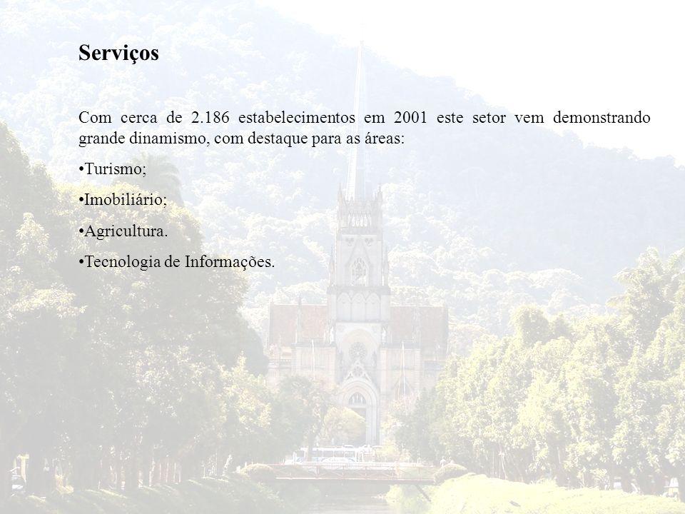 Serviços Com cerca de 2.186 estabelecimentos em 2001 este setor vem demonstrando grande dinamismo, com destaque para as áreas: