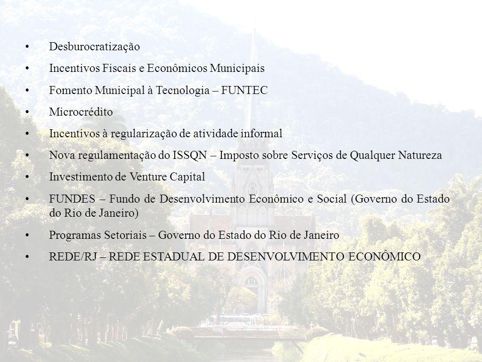 Desburocratização Incentivos Fiscais e Econômicos Municipais. Fomento Municipal à Tecnologia – FUNTEC.