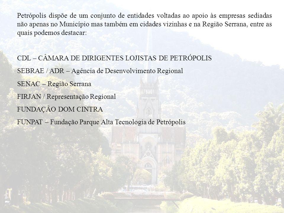 Petrópolis dispõe de um conjunto de entidades voltadas ao apoio às empresas sediadas não apenas no Município mas também em cidades vizinhas e na Região Serrana, entre as quais podemos destacar: