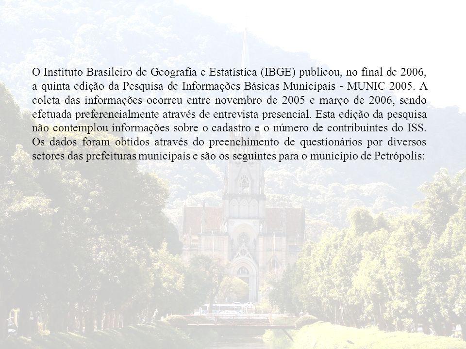 O Instituto Brasileiro de Geografia e Estatística (IBGE) publicou, no final de 2006, a quinta edição da Pesquisa de Informações Básicas Municipais - MUNIC 2005.