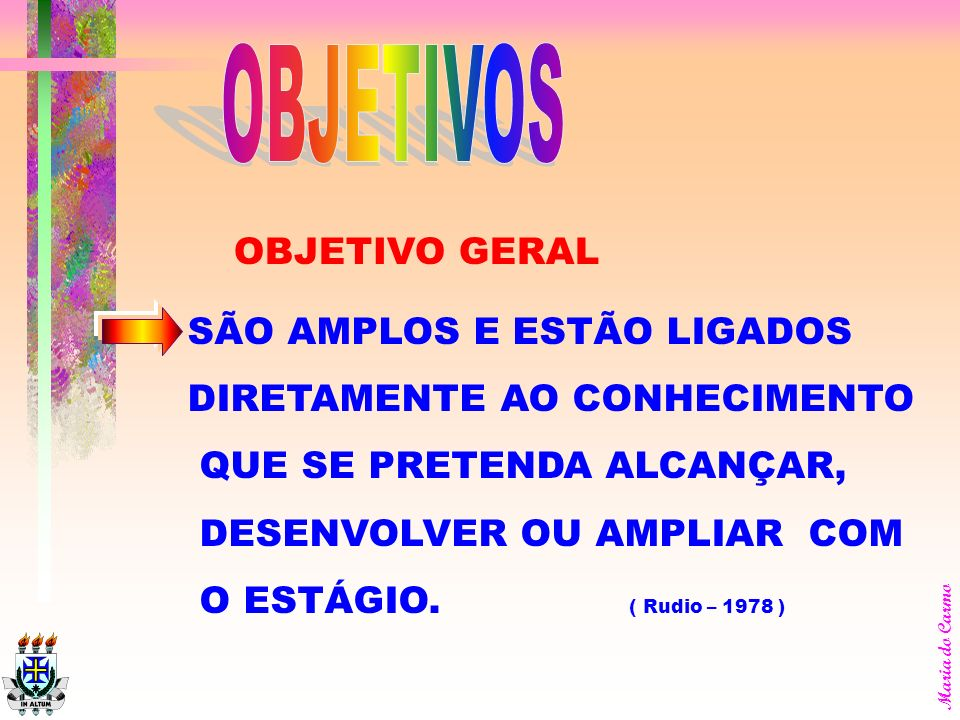 OBJETIVOS OBJETIVO GERAL SÃO AMPLOS E ESTÃO LIGADOS