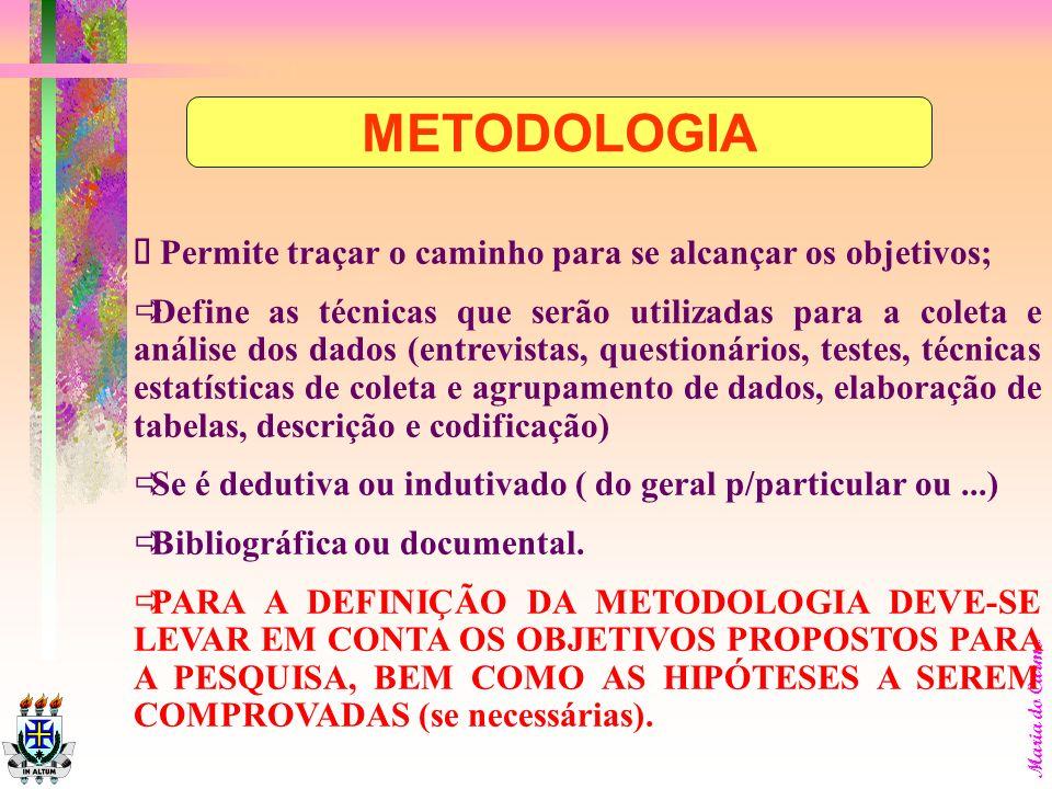 METODOLOGIA ð Permite traçar o caminho para se alcançar os objetivos;