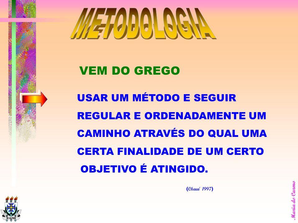 METODOLOGIA VEM DO GREGO USAR UM MÉTODO E SEGUIR
