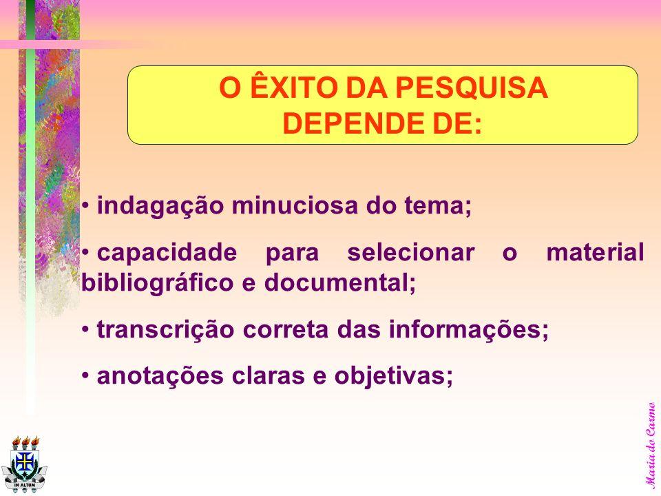 O ÊXITO DA PESQUISA DEPENDE DE:
