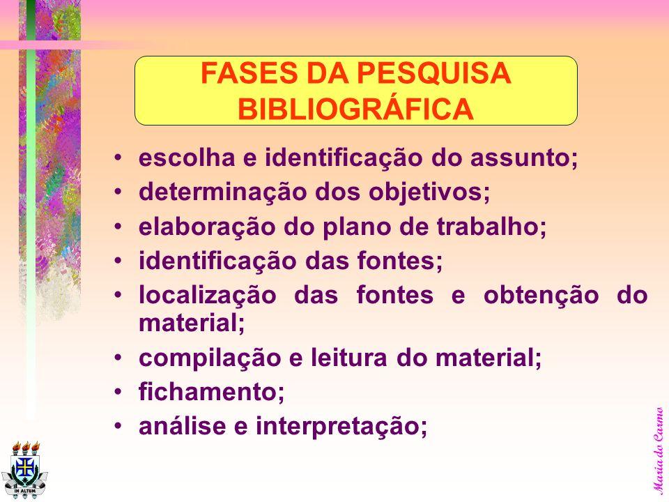 FASES DA PESQUISA BIBLIOGRÁFICA