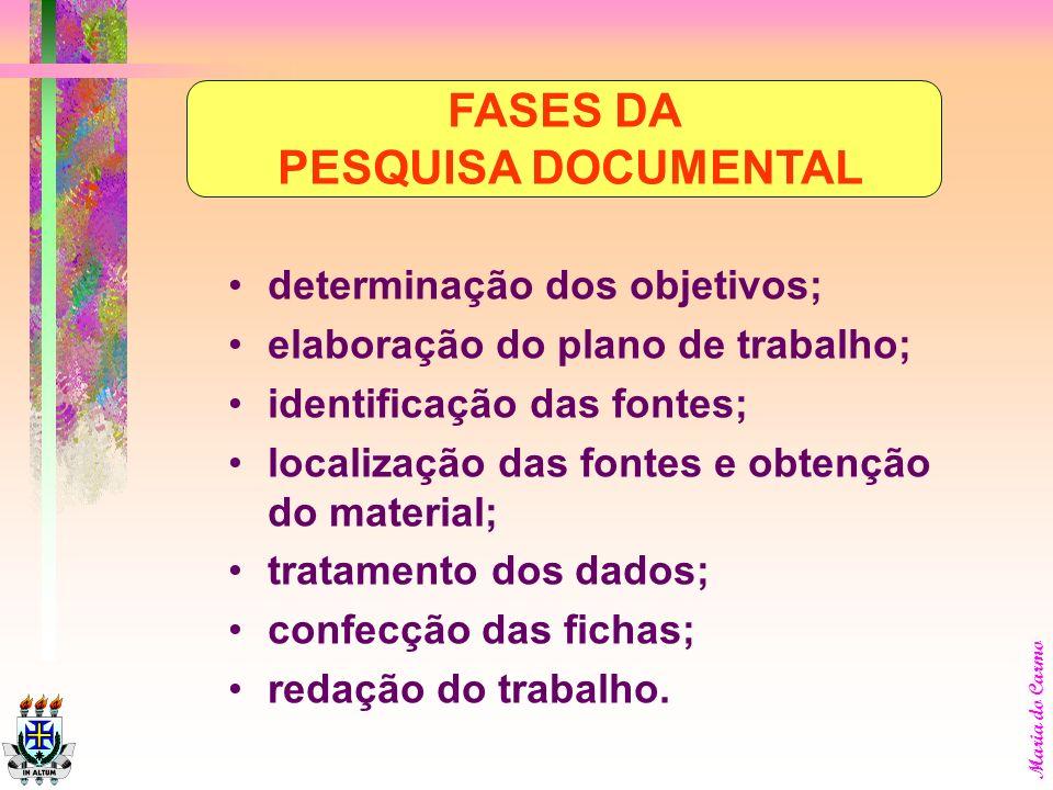 FASES DA PESQUISA DOCUMENTAL