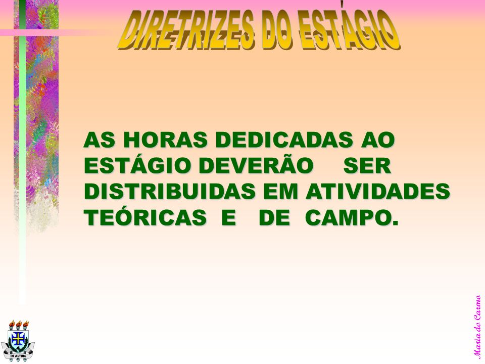 DIRETRIZES DO ESTÁGIO AS HORAS DEDICADAS AO ESTÁGIO DEVERÃO SER DISTRIBUIDAS EM ATIVIDADES TEÓRICAS E DE CAMPO.