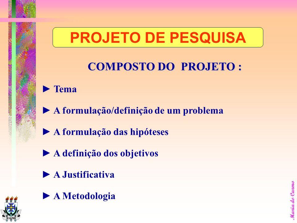 PROJETO DE PESQUISA COMPOSTO DO PROJETO : ► Tema