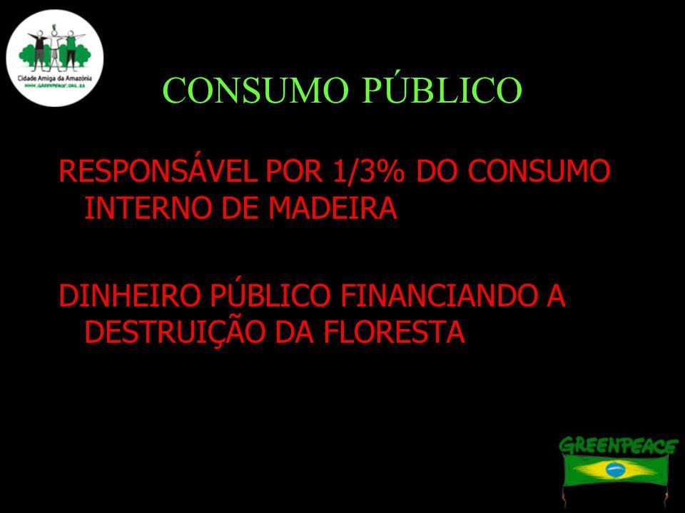 CONSUMO PÚBLICO RESPONSÁVEL POR 1/3% DO CONSUMO INTERNO DE MADEIRA