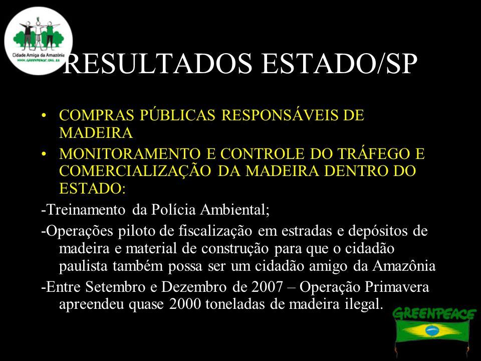 RESULTADOS ESTADO/SP COMPRAS PÚBLICAS RESPONSÁVEIS DE MADEIRA