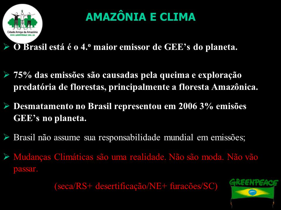 AMAZÔNIA E CLIMA O Brasil está é o 4.o maior emissor de GEE's do planeta.