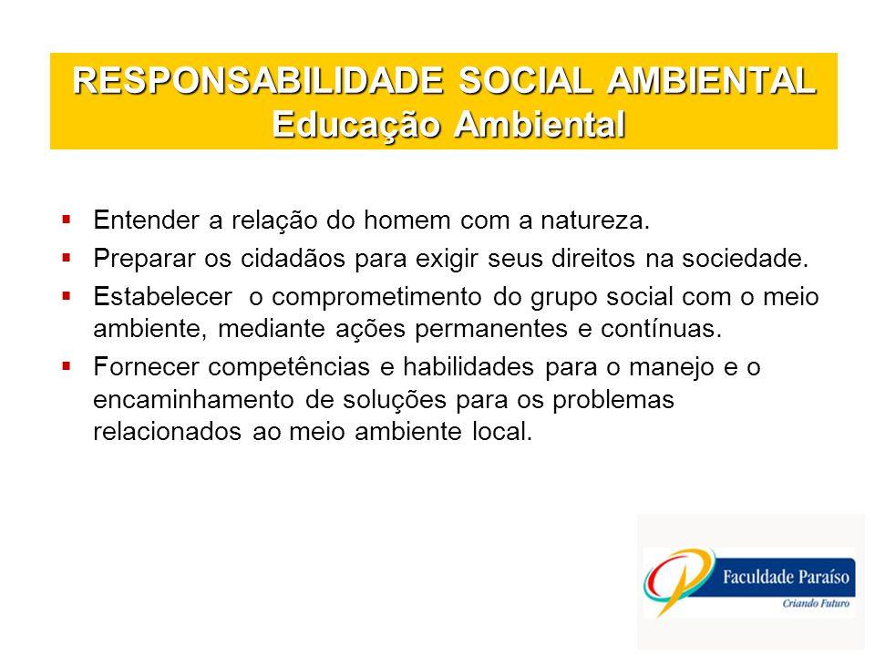 RESPONSABILIDADE SOCIAL AMBIENTAL Educação Ambiental