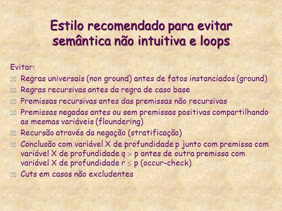 Estilo recomendado para evitar semântica não intuitiva e loops