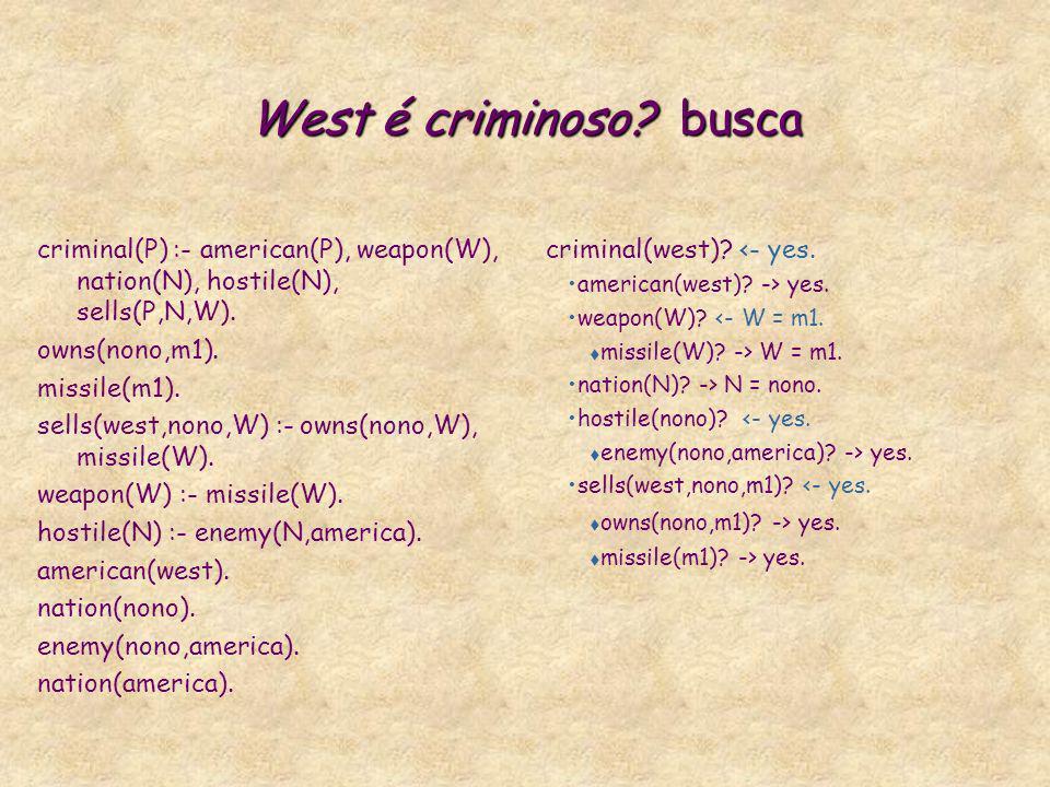 West é criminoso busca criminal(P) :- american(P), weapon(W), nation(N), hostile(N), sells(P,N,W).