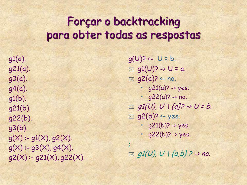 Forçar o backtracking para obter todas as respostas