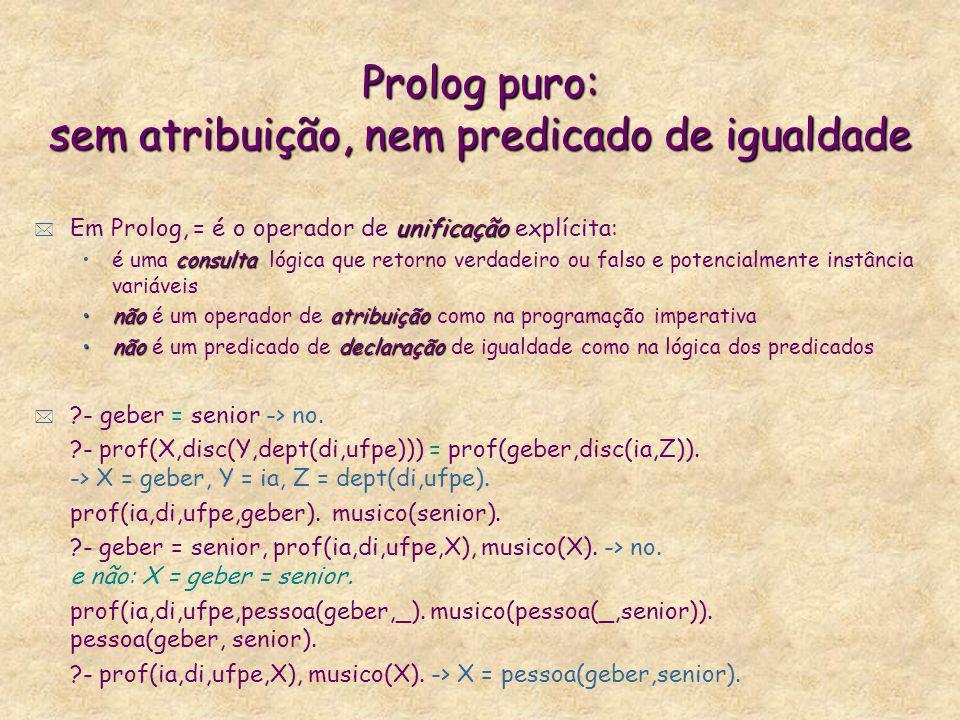 Prolog puro: sem atribuição, nem predicado de igualdade