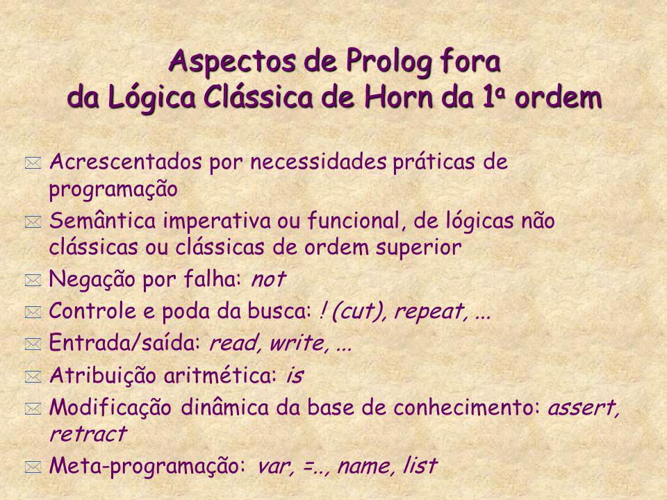 Aspectos de Prolog fora da Lógica Clássica de Horn da 1a ordem