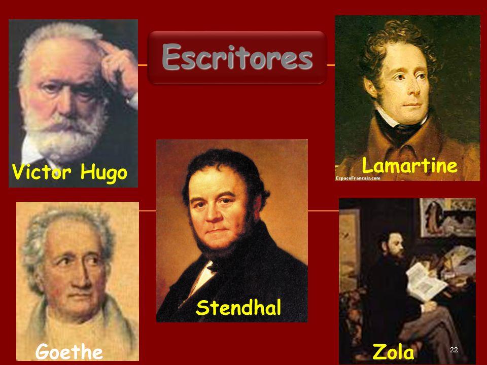 Escritores Lamartine Victor Hugo Stendhal Zola Goethe