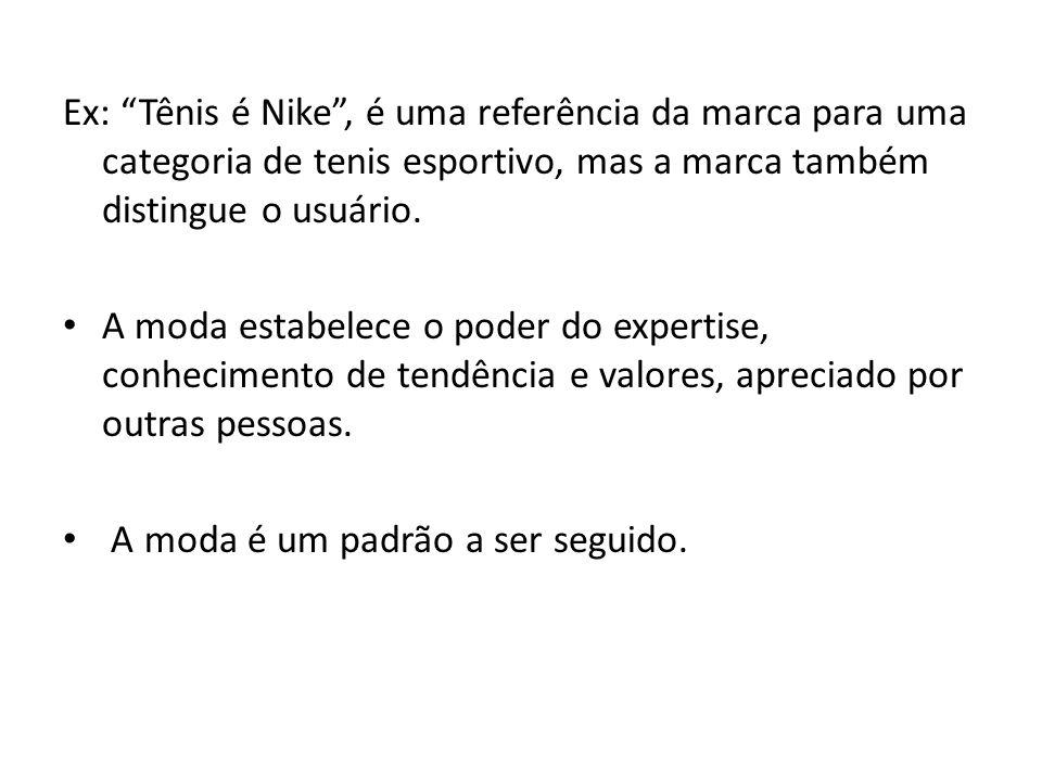 Ex: Tênis é Nike , é uma referência da marca para uma categoria de tenis esportivo, mas a marca também distingue o usuário.