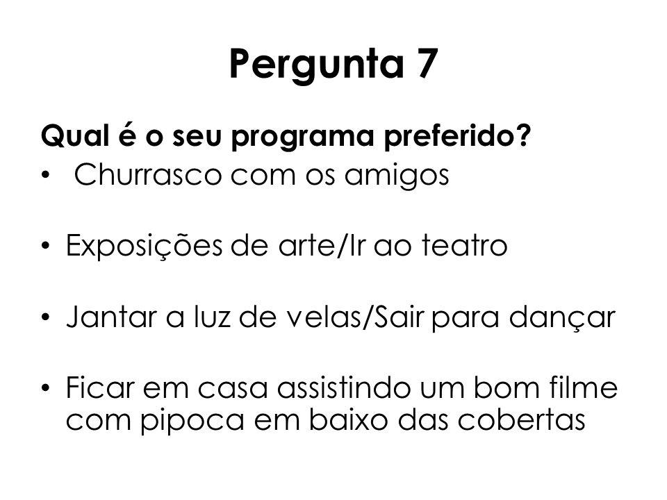 Pergunta 7 Qual é o seu programa preferido Churrasco com os amigos