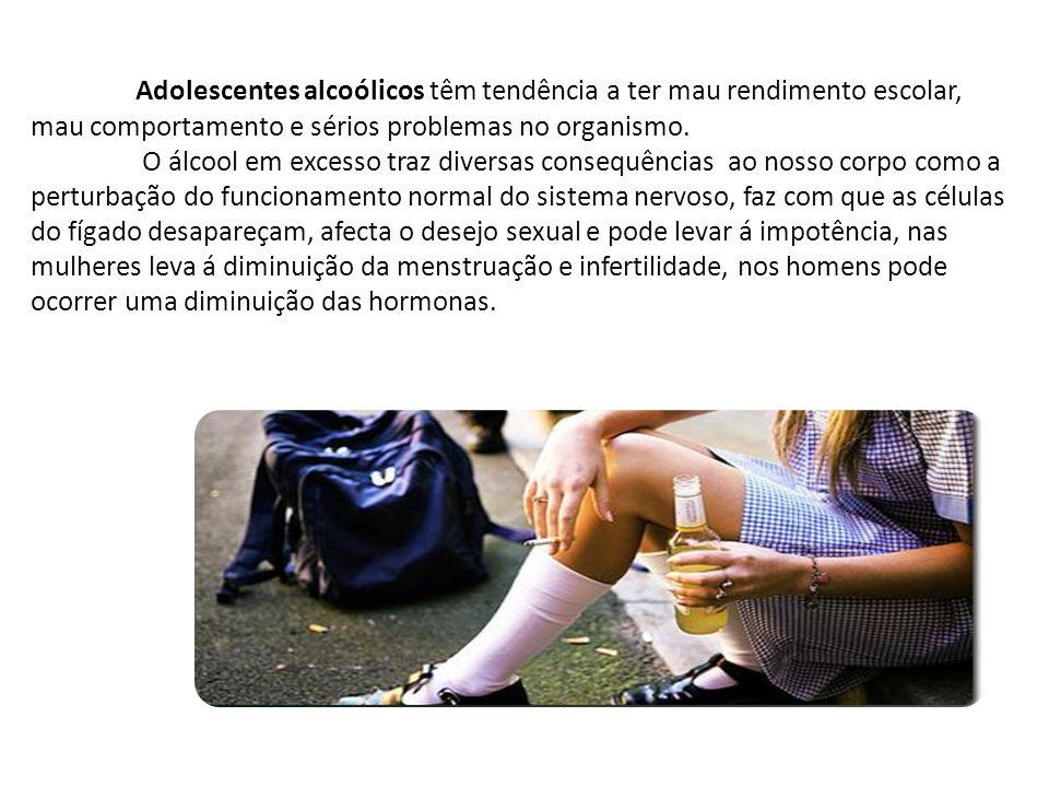 Adolescentes alcoólicos têm tendência a ter mau rendimento escolar, mau comportamento e sérios problemas no organismo.