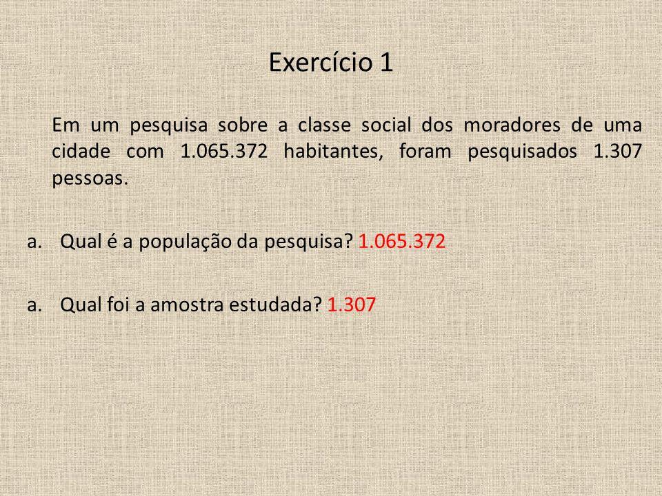Exercício 1 Em um pesquisa sobre a classe social dos moradores de uma cidade com 1.065.372 habitantes, foram pesquisados 1.307 pessoas.