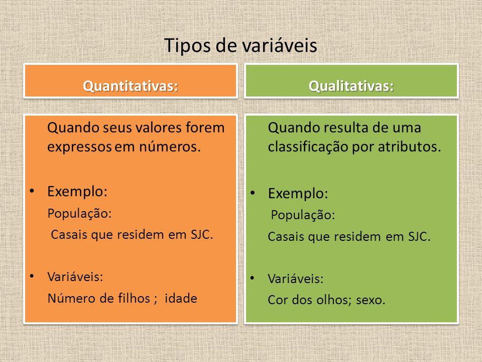 Tipos de variáveis Quantitativas: Qualitativas: Exemplo: