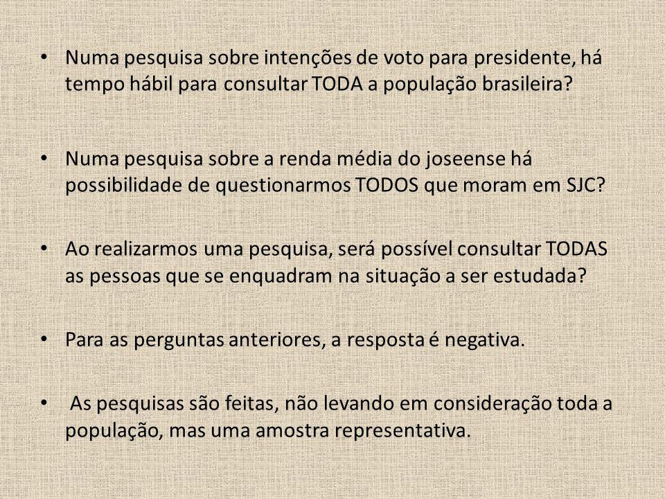 Numa pesquisa sobre intenções de voto para presidente, há tempo hábil para consultar TODA a população brasileira