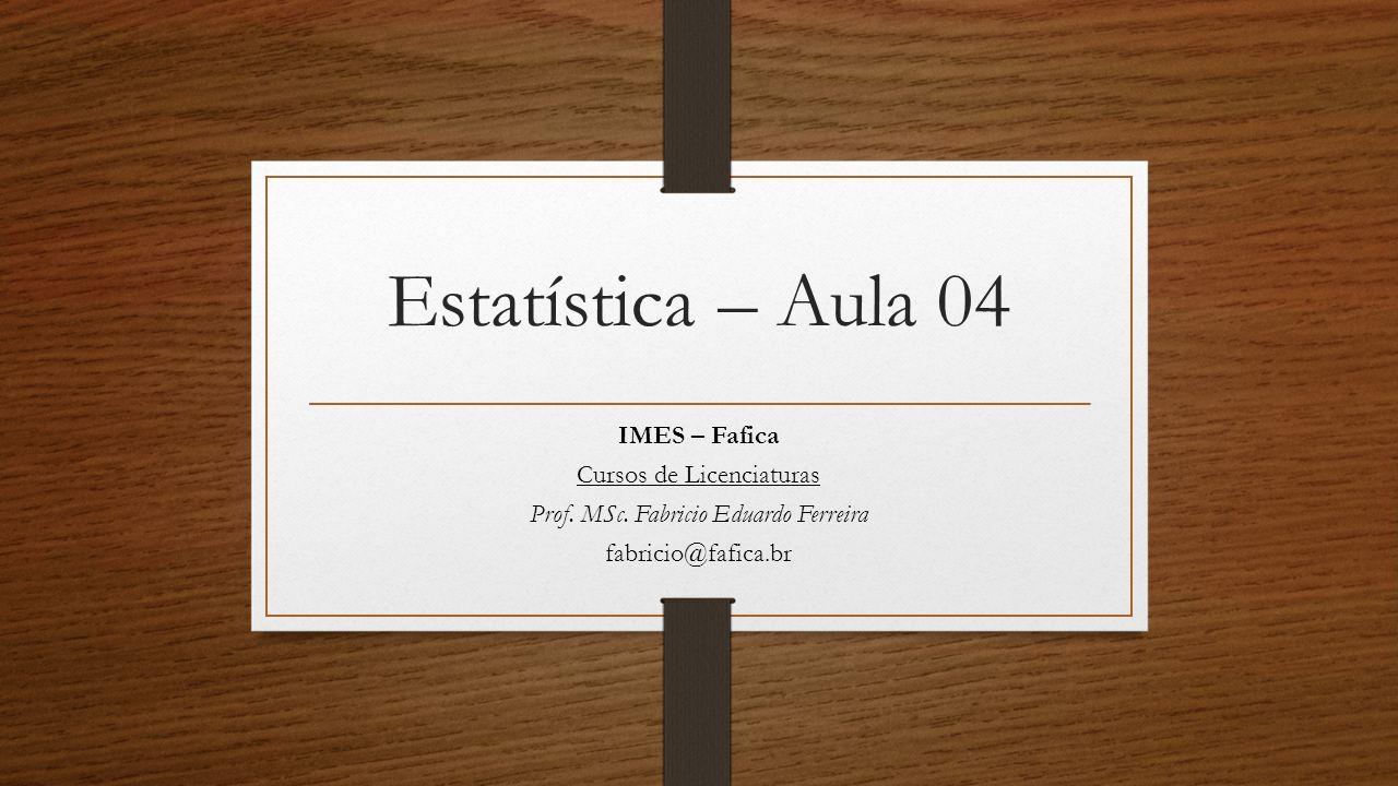 Estatística – Aula 04 IMES – Fafica Cursos de Licenciaturas