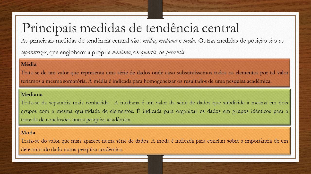 Principais medidas de tendência central