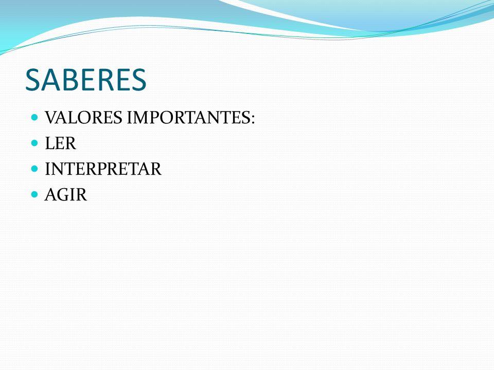 SABERES VALORES IMPORTANTES: LER INTERPRETAR AGIR