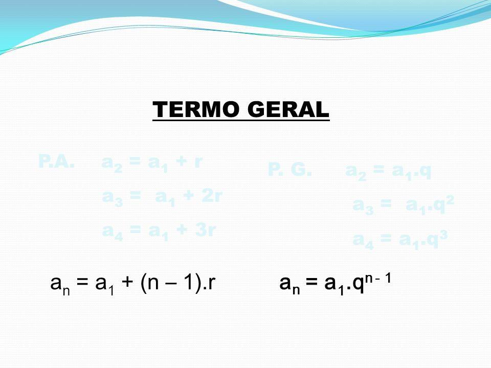 TERMO GERAL an = a1 + (n – 1).r an = a1.qn - 1 P.A. a2 = a1 + r