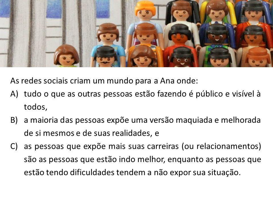 As redes sociais criam um mundo para a Ana onde: