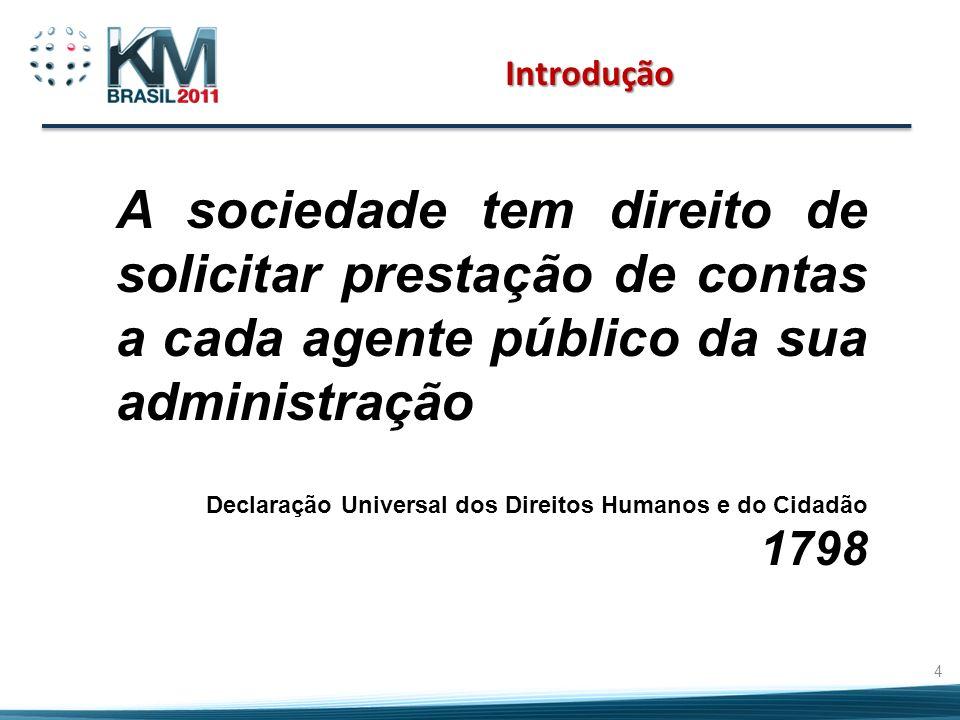 Introdução A sociedade tem direito de solicitar prestação de contas a cada agente público da sua administração.