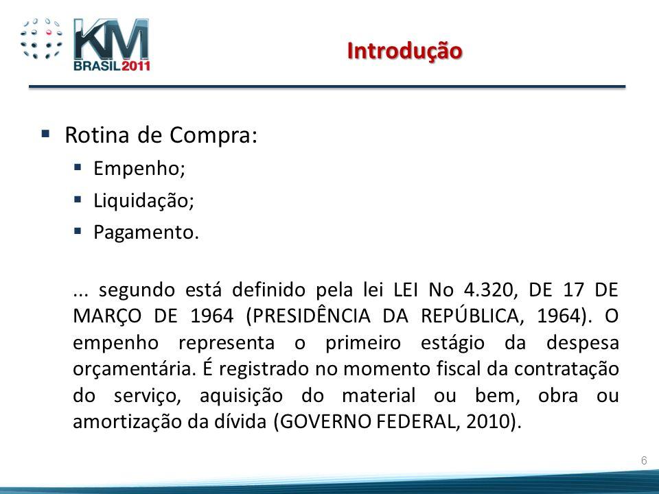 Introdução Rotina de Compra: Empenho; Liquidação; Pagamento.