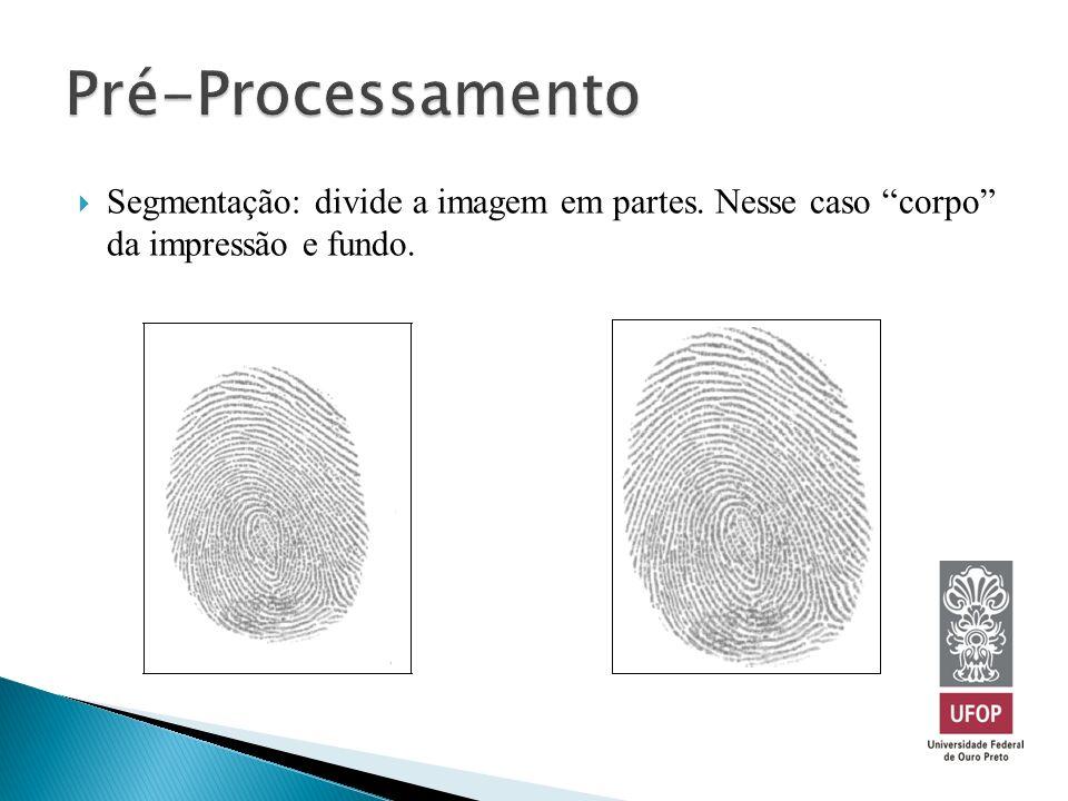 Pré-Processamento Segmentação: divide a imagem em partes. Nesse caso corpo da impressão e fundo.