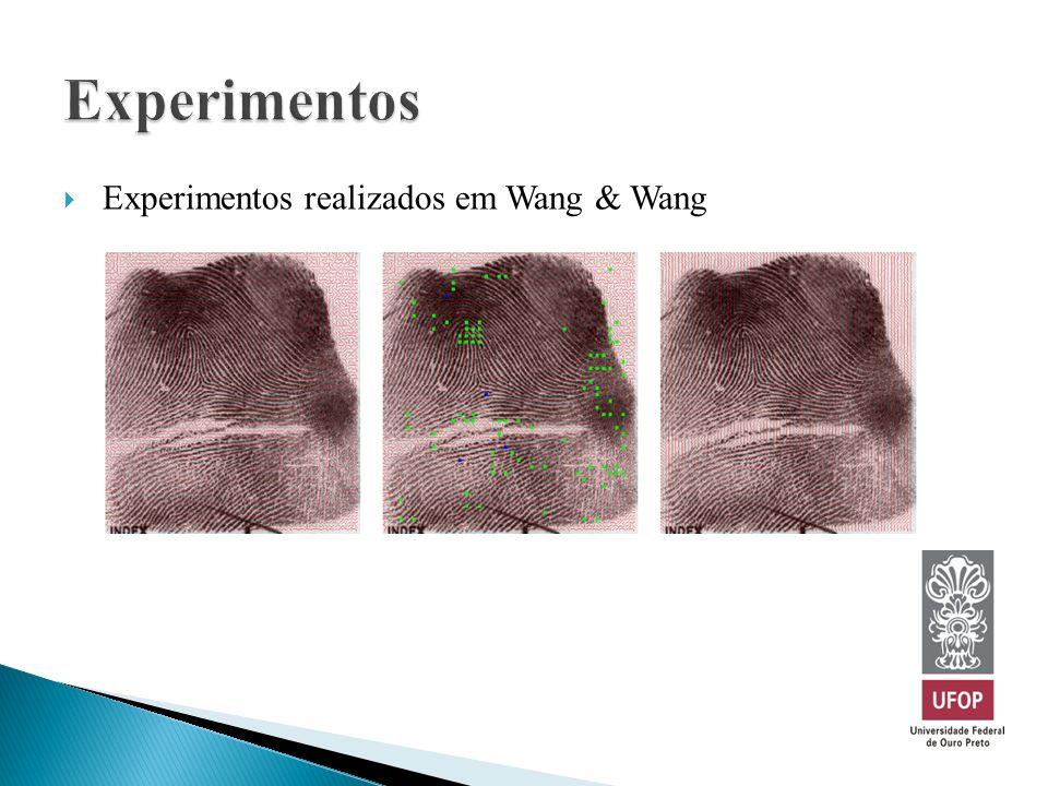 Experimentos Experimentos realizados em Wang & Wang