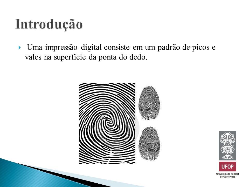 Introdução Uma impressão digital consiste em um padrão de picos e vales na superfície da ponta do dedo.