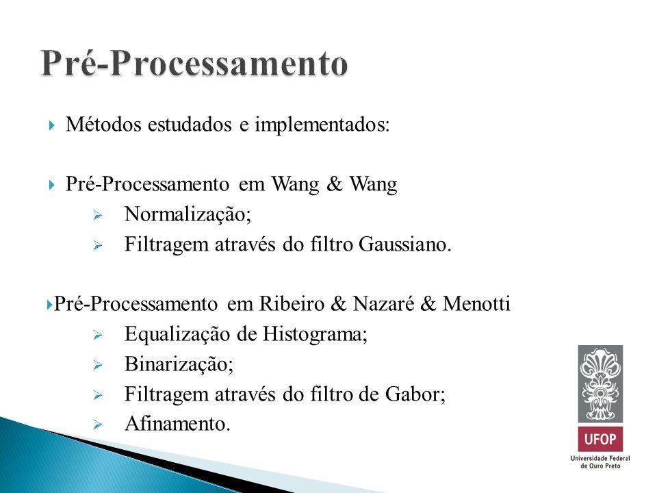Pré-Processamento Métodos estudados e implementados: