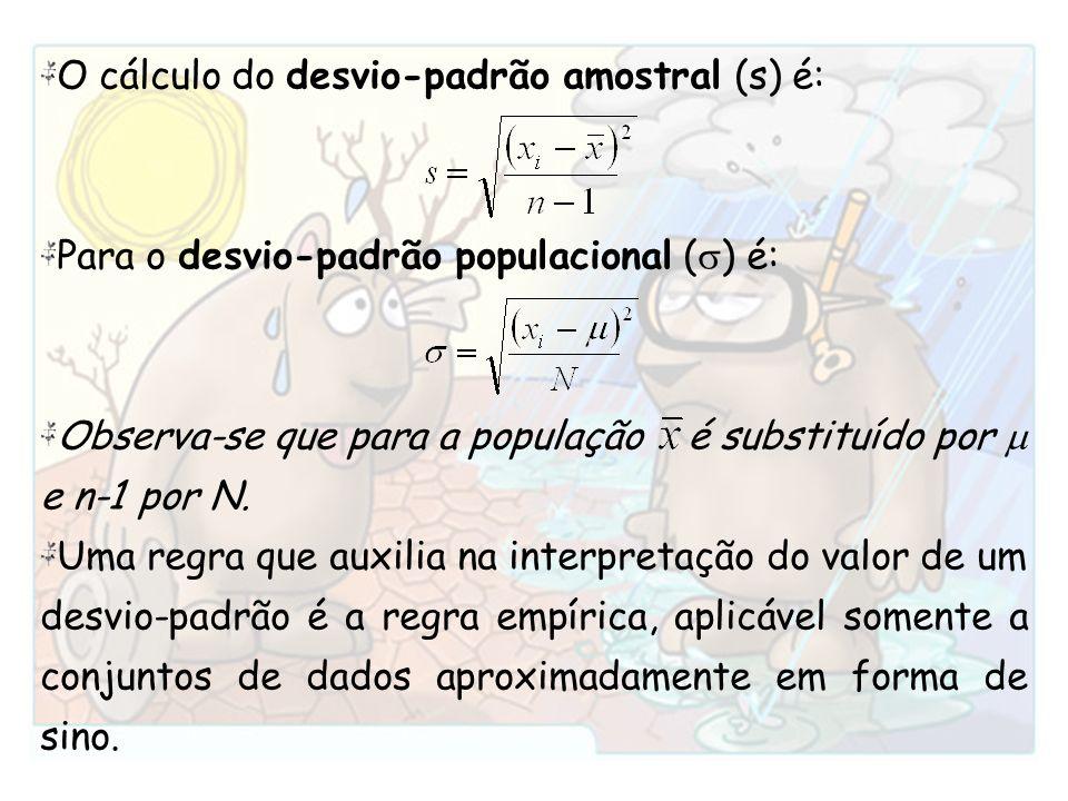 O cálculo do desvio-padrão amostral (s) é: