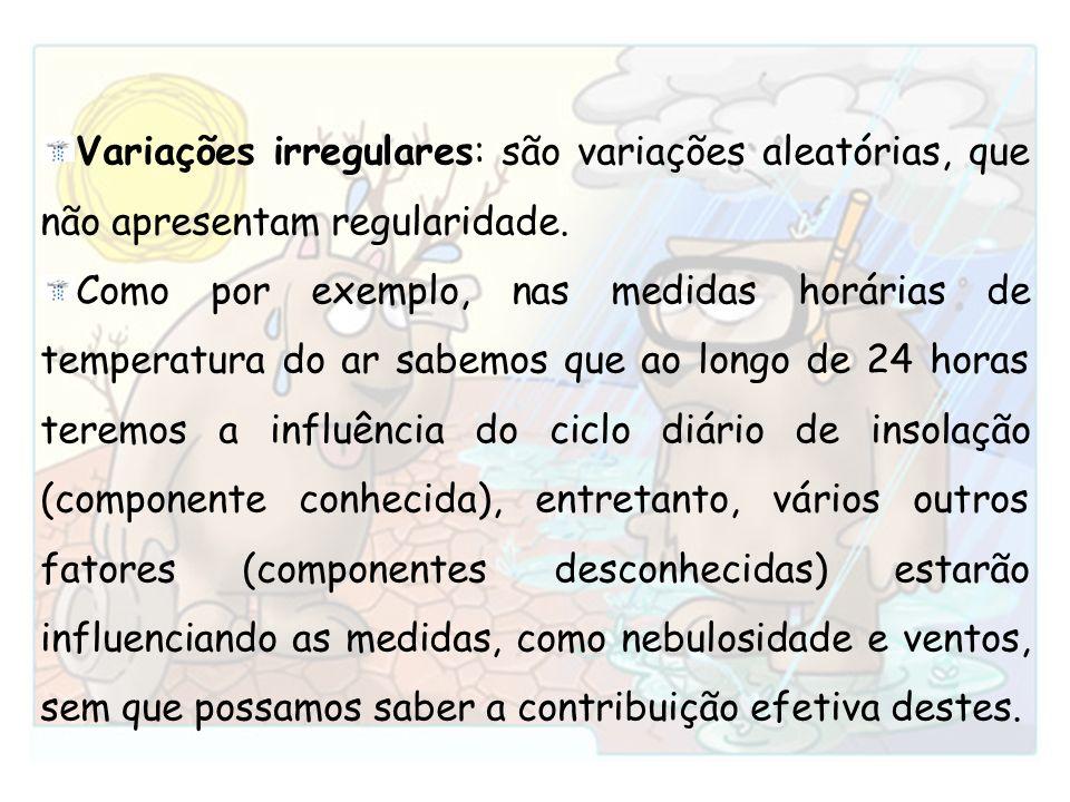 Variações irregulares: são variações aleatórias, que não apresentam regularidade.